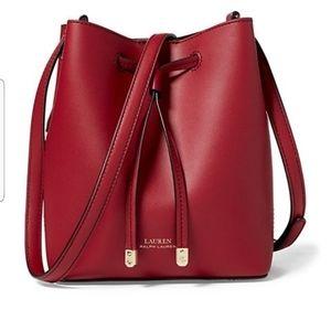 RALPH LAUREN Red Mini Debby Leather Bucket Bag